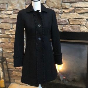 JCrew Black wool ruffle coat size 4